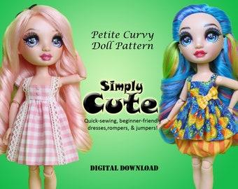 Simply Cute PDF sewing clothes pattern for Petite Curvy dolls: Rainbow Fashion Doll