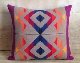 SALE Pillow - Pendleton Wool Fabric - Native Geometric Tribal