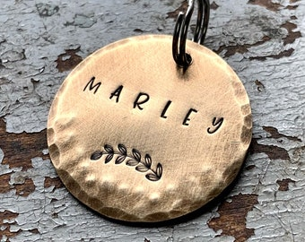 Rustic Custom Dog Tag, Name Tag for Pet, Brass Dog Tag, ID Tags for Pets, Dog and Cat Tags