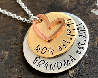 Gift for New Grandma, Grandma To Be Gift Ideas, Established Grandma Jewelry, New Nana Gift, Personalized New Grandmother Necklace