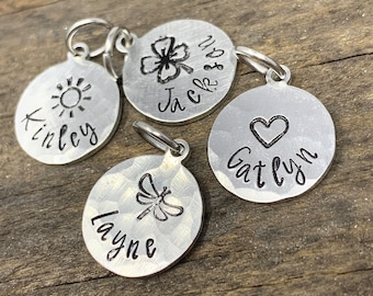 Tiny Hammered Silver Charm, Bracelet, Necklace Custom Name Charm, Personalized Add On Charms