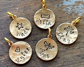 Tiny Hammered Gold Charm, Bracelet, Necklace Custom Name Charm, Personalized Add On Charms