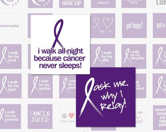 RELAY FOR LIFE - 1 Inch Square Digital Collage Sheet for Pendnats, Magnets, Scrapbooking and More (Instant Download No. 784)