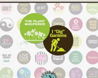 GARDENING and PLANTS - 1.313 Inch Circle Digital Collage Sheet for Button Maker (Instant Download No. 1452)