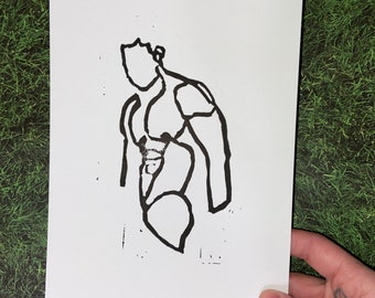 Single Line Man Lino Block Print