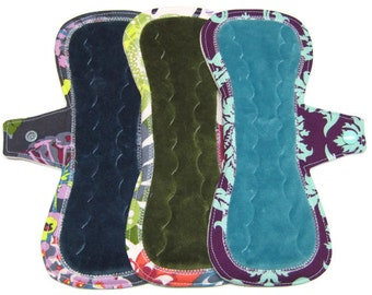 """10"""" OBV Reusable Cloth Menstrual Pads / Mama Cloth Pads / Incontinence Pads - Set of 3 - Customize Your Flow Level, Fabrics and Backing"""