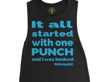 Motivational Muscle Tank Top - workout tank, fitness, workout shirt, workout tank top, muscle tank, kickboxing...Kickboxing Addict