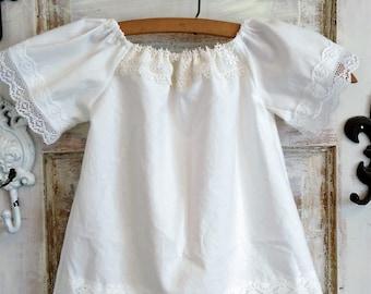 White Cotton Boho Baby Dress  72d553e4d69a