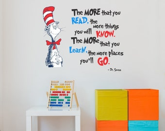 The More That You Read Dr. Seuss Cat In Hat Quote Wall Decal - Vinyl Words  sc 1 st  Etsy & Dr seuss wall decal | Etsy