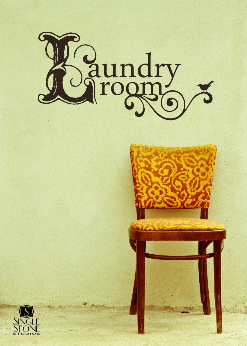 Laundry Room Wall Decal Vintage Style Vinyl Text Wall Words   Etsy