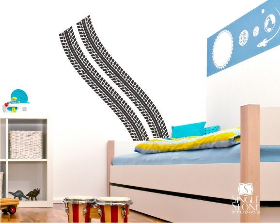 info for 98ac1 bd89e Nursery Tire Tracks Burn Rubber Wall Decal - Playroom Wall Decals Custom  Home Decor