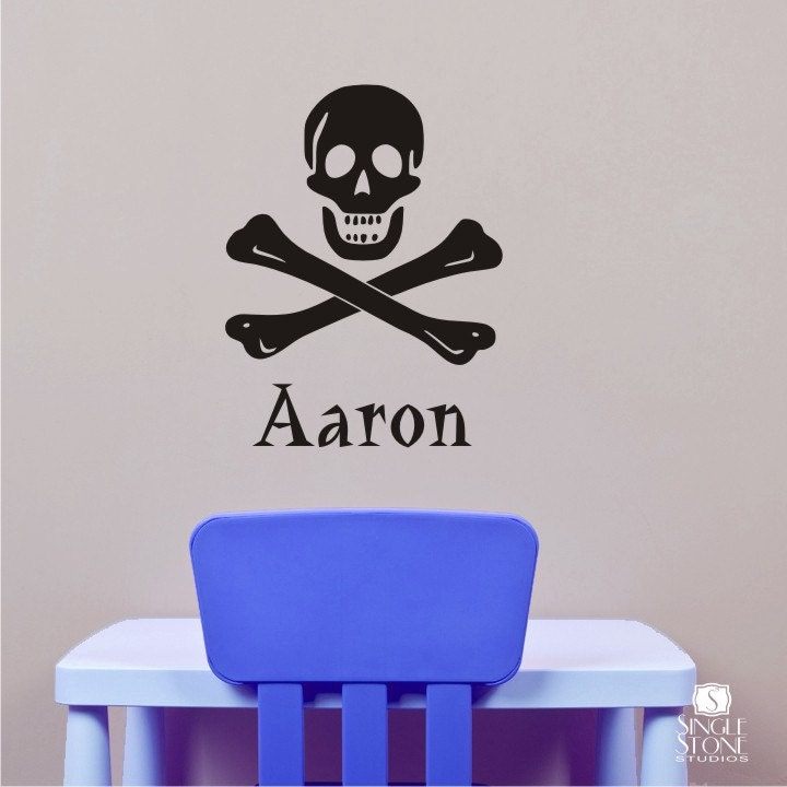 Nursery Pirate Wall Decals Skull And Crossbones Personalized Etsy