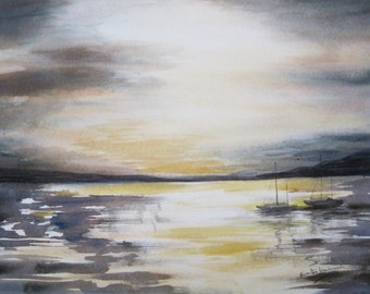 Sunset in Knysna - watercolor painting of South Africa
