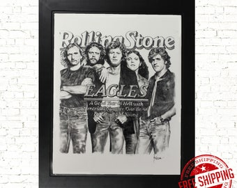 Music poster, the eagles poster, the eagles band art print , music prints , music art