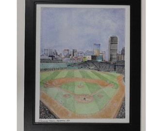 Boston Baseball Park drawing red sox art print
