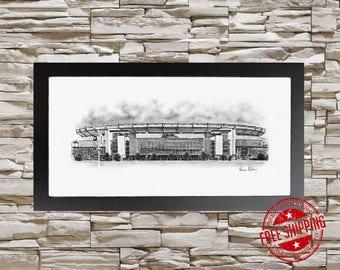 New England Patriots Art - Patriots art - Gillette Stadium Art Print 10x20