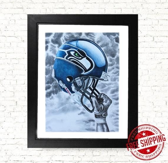 Seattle seahawks football wall art print sport decor