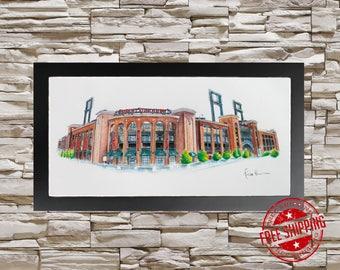 St louis Cardinals gift Busch Stadium art print 10x20