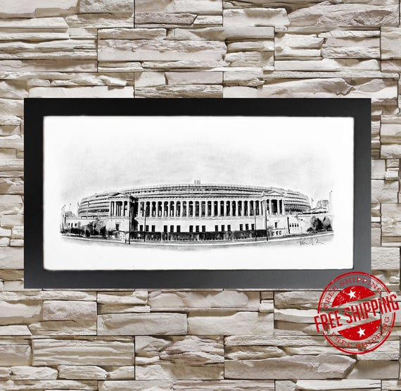 Chicago Bears Soldier Field Bw Wall Art Chicago Bears Decor