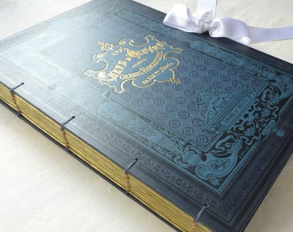 Photo Guest Book for Wedding, Honeymoon Scrapbook Idea, Custom Made and Personalized Extra Large Antique Book with Blank Pages