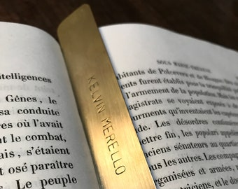 Personalized Bookmark, hand stamped brass keepsake, birthday gift for book lovers, 1 line, 13 x 2 cm