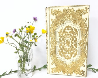 Wedding Guest Book Keepsake Journal made from an Ornate Antique French Book in Ivory and Gold