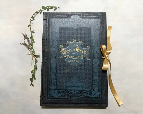 Large Boho Romantic Wedding Guestbook with Antique French Cover and blank pages, Option to Personalize