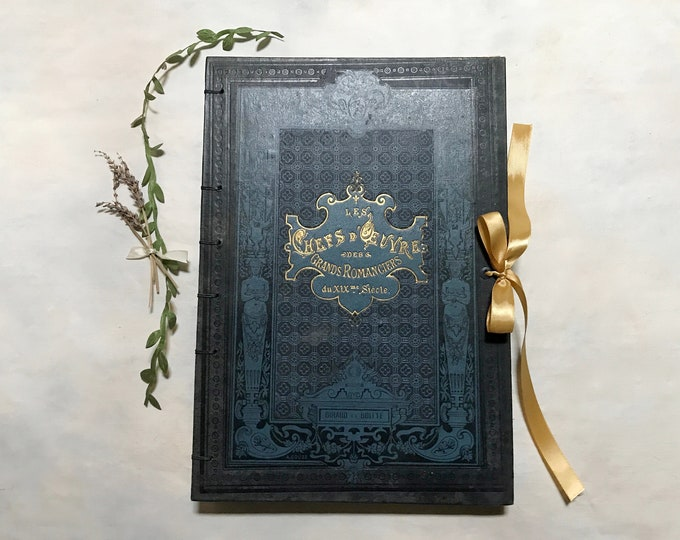 Large Guestbook Boho Wedding Journal for Francophiles, Personalized Guestbook, Unique Gift for Bride and Groom, Rebound Vintage Blank Book