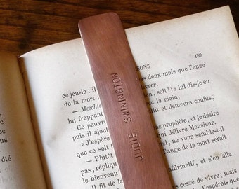 Copper Bookmark, Personalized Stamped Page Keeper keepsake Gift  1 line of text, 13 x 2 cm