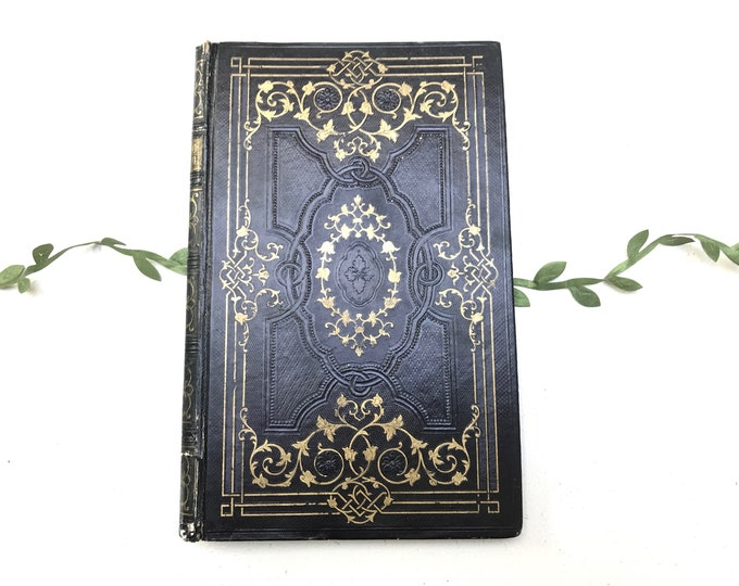 Ornate Black Blank Book, Wedding Guestbook, Commemorative Keepsake Journal Made from An Antique French Book
