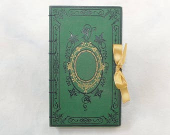 Wedding Guest Book, Unique Journal, Forest Theme, Rebound Journal, Travel Sketchbook, Green Guestbook, French Vintage