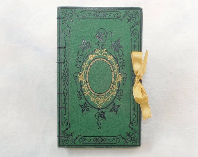 Wedding Guest Book, Unique Custom Made Journal, Personalized Blank Rebound Journal, Travel Sketchbook, French Vintage Green Guestbook,