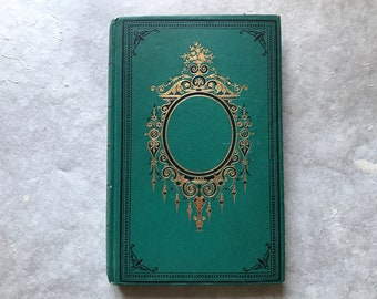 Fairytale Wedding Guest Book in Green and Gold,  Antique French Book, Unique Blank Journal, Gift Idea