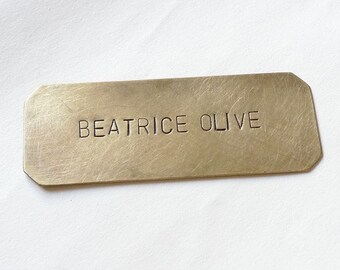 Small Brass Nameplate, Personalized Plaque, Hand Stamped Mail box Tag, Keepsake Plaque, Custom Made 6 x 2.5 cm (2.4 x 1 inches)