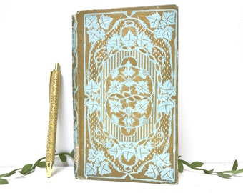 Romantic Wedding Guestbook, Pale Blue & Gold Wedding Vows Keepsake, Baby Journal, Gift for New Mom, Floral Guest Book, Antique Blank Book