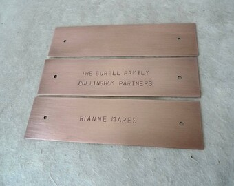 "Stamped Copper or Brass Sign, Memorial Keepsake, up to  6x1.5"" (15x3.8cm), With or Without Holes, Housewarming Gift Custom Sizing Available"