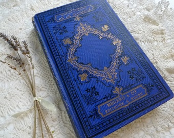 Unique Guest Book, Blue Journal, Romantic Fairytale Wedding Keepsake, Vintage Rebound French Book