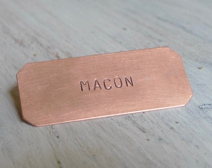 Small Copper Nameplate (6 x 2.5 CM), Hand Stamped Plate, Personalized Plaque, Crib Plate, Mail Box Tag, Keepsake, Gift Idea
