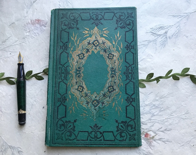 Emerald Green Wedding Guestbook, Personalized Blank Book, Unique Anniversary Journal,  Custom Made Rebound Vintage French Book