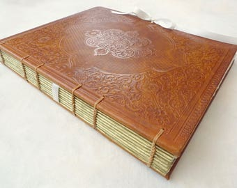 Unique Leather Photo Guestbook Custom Made in France, Vintage Embossed Ornate Design, Wedding or Anniversary