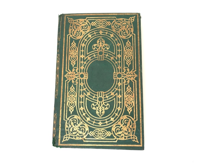 Elegant Guestbook, Hand bound Personalized Journal, Green Blank Book made from an antique French book, Gift for Wedding or Anniversary