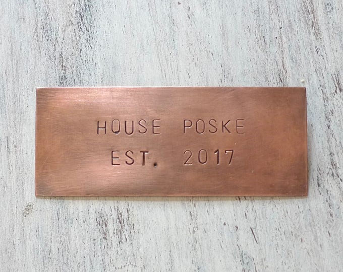 Hand Stamped Copper Plaque, Personalized Nameplate, Gift for Home, 8 x 3.5 centimeters