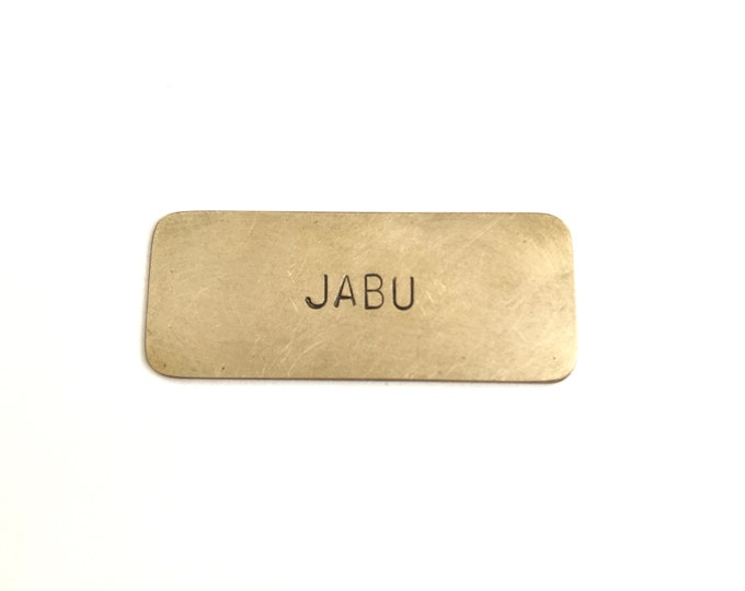 Small Nameplate with Initials or 5 letters (5 x 2 CM) in 4mm font in Copper or Brass, Hand-Stamped Tag, Keepsake Plaque, Book Plate