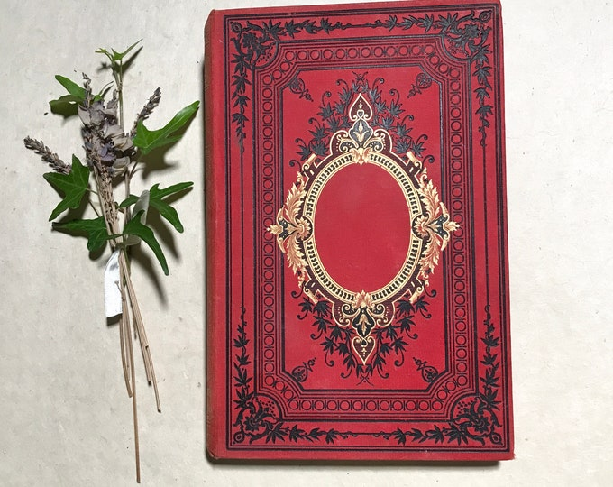 Wedding Photo Guestbook. Personalized Honeymoon Scrapbook Album, Memorial Keepsake Journal, Blank Book Gift Idea, Antique Scarlet Red Book