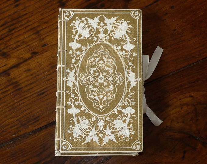 Gold Guest Book with Ribbon, Antique Heirloom Blank Wedding Book or Anniversary Journal for Literature Lovers, Unique Rebound French Book
