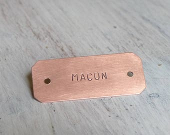 Copper Nameplate (6 x 2.5 CM), Hand Stamped Plate, Personalized Plaque, Crib Plate, Mail Box Tag with holes, Keepsake, Gift Idea