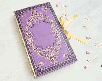 Custom Boho Guest Book Made in France, Hand Bound Vintage Book Journals and Guestbooks for Weddings, Anniversaries, Engagement, Gift