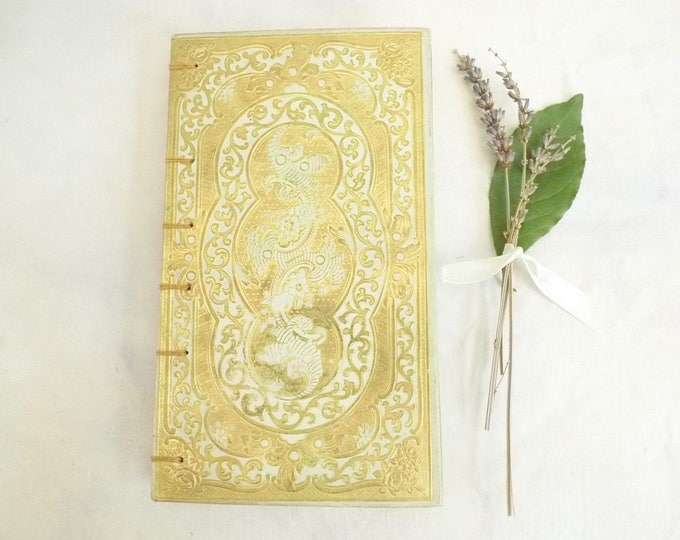Elegant Wedding Guest Book, Marriage Vows Journal, Luxury Blank Book, Unique Personalized Custom French Vintage Guestbook by Spellbinderie