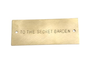 Personalized Nameplate, Hand Stamped Brass Tag with holes, Door Plaque, Memorial Keepsake, Crib, Custom Made, 8 x 2.5cm (3.1 x 1 inches)