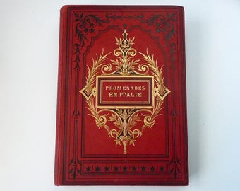 Unique Wedding Guestbook option for Photos, Extra Large Coptic Bound Red and Gold Vintage Book